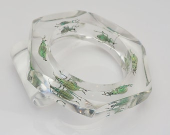 Transparent lucite bracelet with real beetles