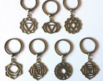Bronze Chakra Keychains Key Ring or Zipper Pulls - Reiki Yoga Keychains