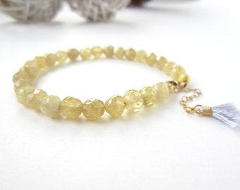 Citrine bracelet, November birthstone, citrine jewelry, gemstone bracelet, boho beaded bracelet, tassel jewelry, adjustable, gifts under 40