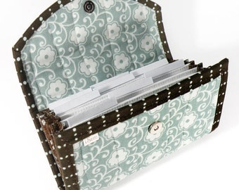 COUPON / EXPENSE / RECEIPT Organizer - Aqua and White Flowers - Coupon Organizer Coupon Holder Cash Budget
