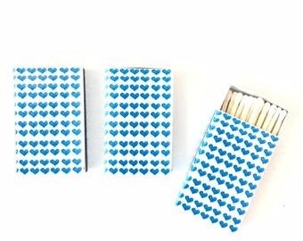 HEARTS MATCHBOXES - BLUE