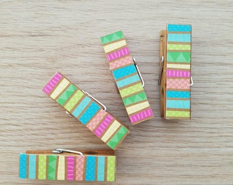 Colorful Summer Tiki Bold Stripes - Magnets - Set of 4 - Clothespin Clips - Hostess Gift - Ready To Ship - Shower Gift