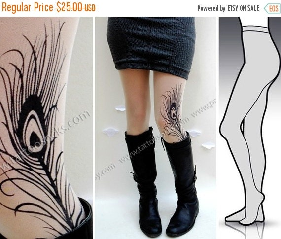 SALE//17%off// Small/Medium gorgeous MINI and BOOTS peacock Feather tattoo tights / stockings/ full length / pantyhose / nylons Ultra Pale