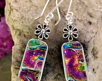 Pretty Pink Dichroic Glass Earrings .. Wire Wrapped Sterling Silver Hooks