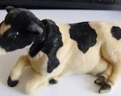Bobblehead Black White Dairy Cow Flocked Nodder Vintage 1960's 70's