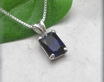 Emerald Cut Sapphire Necklace, Sterling Silver, September Birthstone, Blue Sapphire Jewelry, Gemstone Necklace, Something Blue Wedding SN988