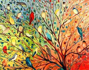 27 Birds - Modern Fine Art Rainbow Bird Print by Jenlo