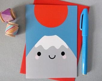 Mt Fuji San Card - Kawaii Japan Greetings Card - Bon Voyage
