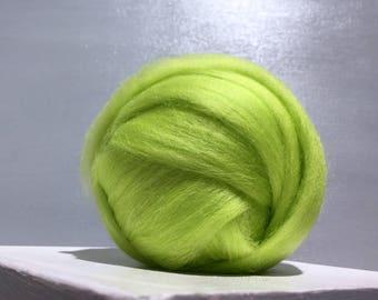 Yellow Green Wool Roving, Needle Felting wool, Spinning Fiber, Corriedale wool, felting wool, lime green wool, chartreuse roving