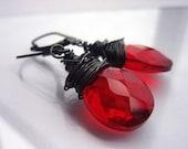 ON SALE Sterling Silver Earrings. Red Earrings. Oxidized Silver Earrings. Red Jewelry. Red Dangle Drop Earrings. Evening Earring - DIVA