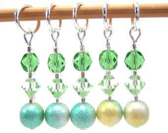 Stitch Markers for Knitting or Crochet, Customizable with Removable Hooks or Rings, Spring Garden