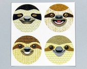 Set of 4 Vinyl Sloth Stickers