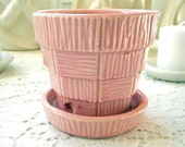 "Vintage McCoy Flower Pot Basket  Weave Planter McCoy Pottery Shabby Pink Small 3"" Mid Century Cottage Chic Decor"