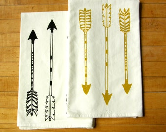 Large Arrows Kitchen Dish Towel Set/2, Hand Printed Cotton Flour Sack Tea Towel, Black, Mustard Yellow, Leaf Green, Hostess Gift
