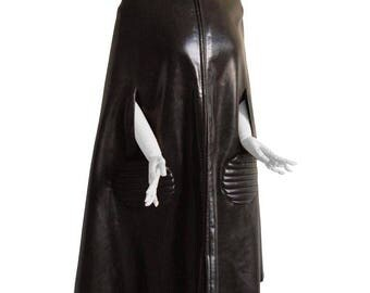 Pierre Cardin Vinyl Cape with Faux Fur Lining Mod Space Age Espresso Brown 1960s M Rare