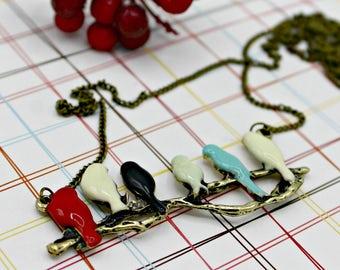 Modern Birds on a Branch Necklace on Brass Chain