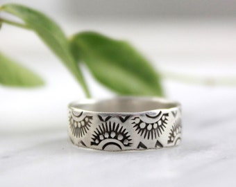 Indian Sun Stamped Silver Band Ring