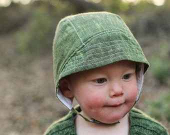 Baby Sunbonnet in Green Cotton with Visor