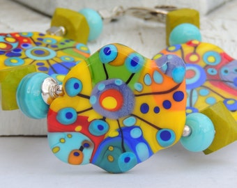 Abstract Palette DREAMY Handmade Lampwork Bead Bracelet