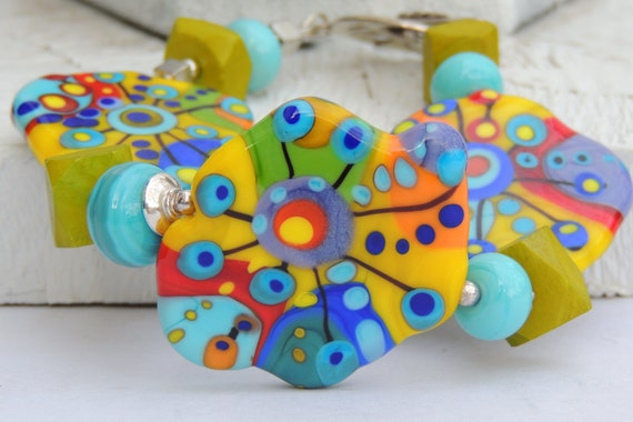 Abstract Palette DREAMY Handmade Lampwork Bead Bracelet