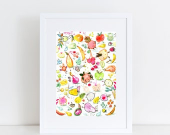 Fruit People A5 print 14.8 x 21 cm from my watercolor illustration