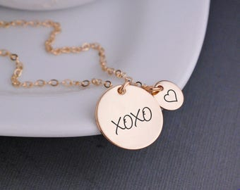 Gold XOXO Necklace, Gold Jewelry, Christmas Gift for Wife