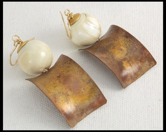 CONCH - Vintage Conch - Handforged Flamed Copper Statement Earrings