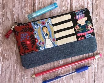 Alice In Wonderland Pencil Case Zipper Pouch Alice Pouch School Supplies Rifle Paper Co Purse Organizer Patchwork bag gift under 20