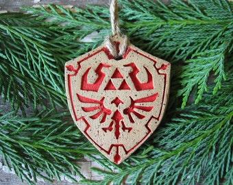 Legend Of Zelda Shield Ornaments - Christmas Tree Ornament - Pottery Christmas Ornament - Hyrule - Link