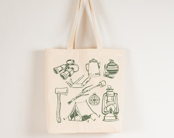 CAMPING TOOLS Tote- screen printed canvas bag- tent, compass, lantern, canteen