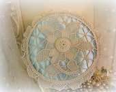 SALE antique satin and lace pin cushion made by hand round box type blue satin + handmade ecru italian reticella needle lace crochet button