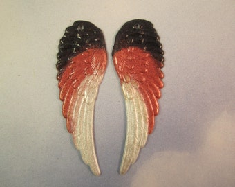 Angel WingsOriginal Iridized Gold,Black and White Charms 9129L