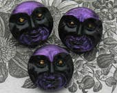 Purple man in the moon Czech glass moon buttons for mysterious projects..