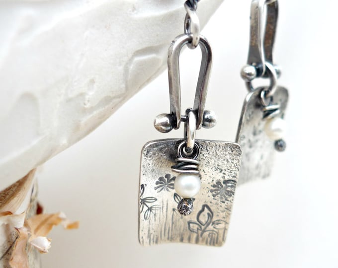 Sterling Silver Field of Flowers with Tiny White Pearl Hand Stamped Earrings