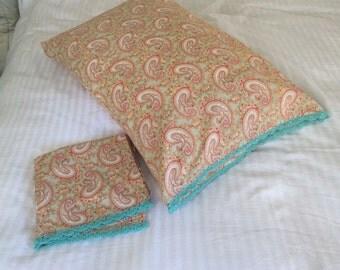 Paisley Pillowcase Set, Crocheted Pillowcases, Handmade Pillowcases, Shabby Chic Bedding