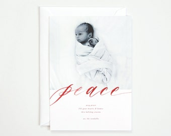 25 Semi-Custom Holiday Card | Peace with Full Frame or White Bordered Image