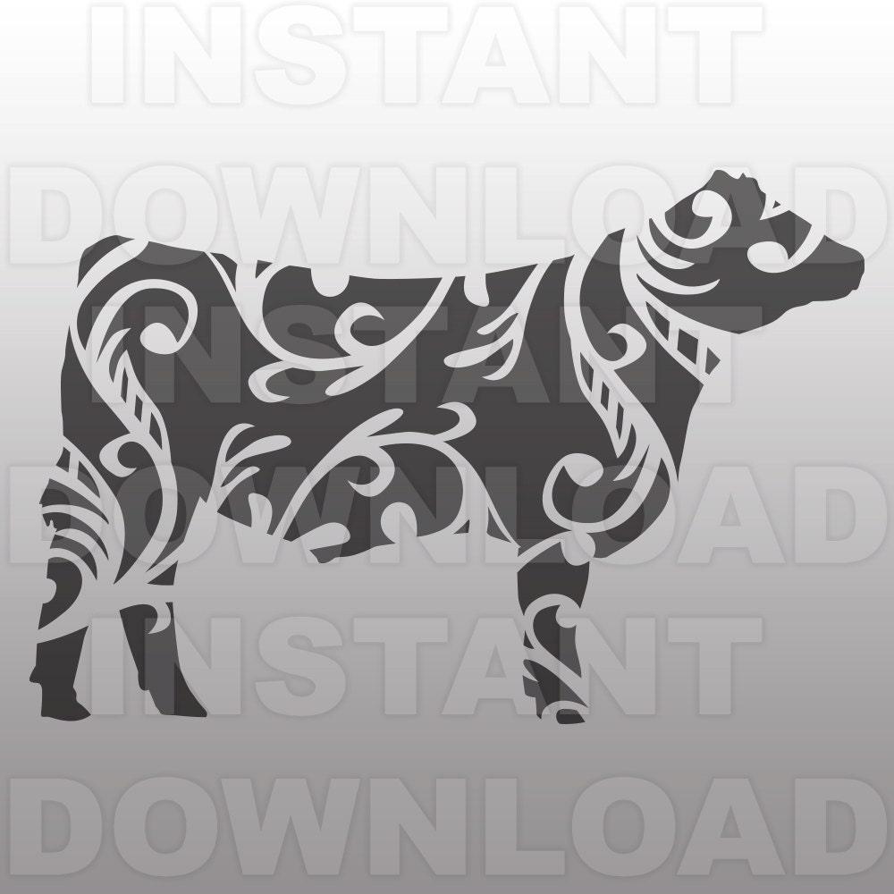 Fancy Decorative Ornate Show Steer SVG FileLivestock SVG