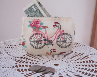 Vintage Cruiser Bicycle Coin Business Card Clutch Zipper Small Essential Oils Case Gift Card Holder in  Made in the USA