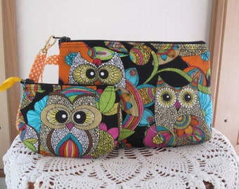 Smart phone Case Gadget Pouch Clutch Wristlet Zipper Gadget Pouch Bag Funky Owlsr Made in USA Set