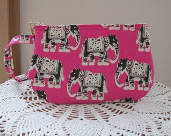Smart phone Elephants on Pink Case Gadget Pouch Clutch Wristlet Zipper Gadget Pouch