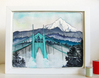 Portland Oregon Art - St Johns Bridge - Mt Hood Art - Illustration Art - Watercolor Art - Portland Watercolor Painting - St Johns Bridge