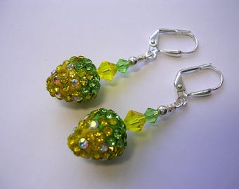 Strawberry Earrings Swarovski Crysal and Rhinestone Pave Silver Yellow Green Crystal Peridot  Leverback Hooks Wire Wrapped Fruit Earrings