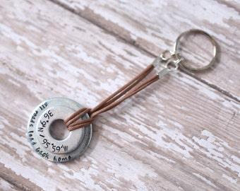 All Roads Lead Home : Latitude/Longitude Metal Stamped Keychain
