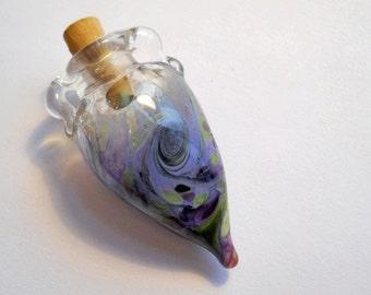 Purple glass amphora, blown glass bottle necklace, lampwork aromatherapy, cremains wearable handmade glass bead vessel, pendant jewelry