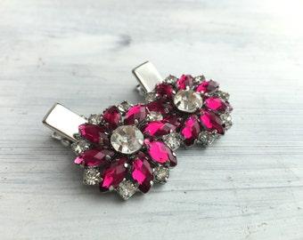 Magenta and Crystal Rhinestone flower hair clip - Sold Individually