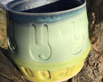 Handmade Bunny Ceramic Pot/jar/storage/catchall/planter/utensil holder