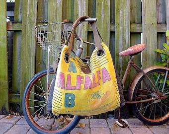 Dekalb Alfalfa Seed - Illinois - Open Tote - Americana Upcycle Vintage OOAK Canvas & Leather Tote... Selina Vaughan Studios