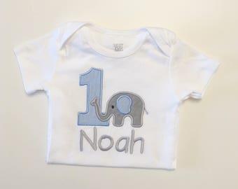 Boy Elephant 1st Birthday Shirt Bodysuit- Personalized