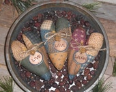 3 Primitive Rustic Country Fabric Faux Patchwork Hearts LIVE LOVE LAUGH Ornies Ornaments Tucks Bowl Fillers