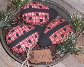 Set of 3 - Primitive - Grungy - Spring Time - Summer - Ladybugs - Ornies - Ornaments - Bowl Fillers - Tucks - Shelf Sitters